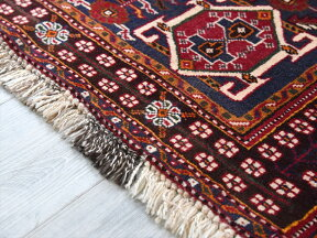 シラーズ・カシュカイ族の絨毯/オールドカーペット240×153cm六角形の赤いメダリオン