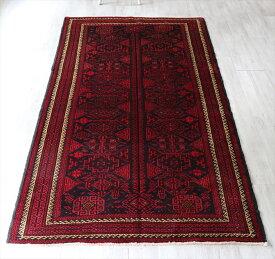トライバルラグ・バルーチ 部族絨毯 手織りカーペット 217×125cm紺とローズレッド 複雑に入り組んだ幾何学モチーフ