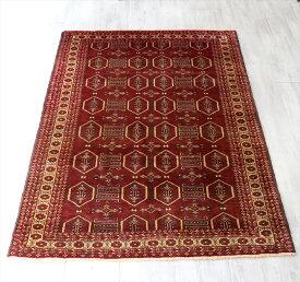 バルーチ族の手織りラグ・部族絨毯 175×120cm連なる六角形 ローズレッド