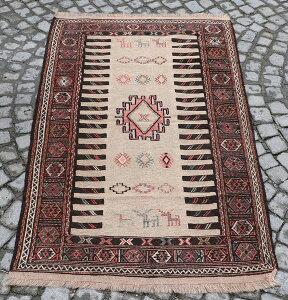東イランの素朴な手織りキリム・グチャン/セッヂャーデ184×95cmレッド・ベージュ・イエロー