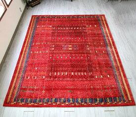 ギャッベ 細かな織りリズバフト・幅広ルームサイズ323x250cm 艶のあるレッドベース 細密なモチーフパターン