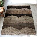 ギャッベ・イラン直輸入・カシュカイ族の手織りNomadノマド/センターラグサイズ209x154cm ナチュラルブラウン&グレー・山の風景、動物…
