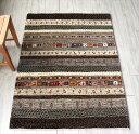 ギャッベ ギャベ 玄関 タビィバフ Tabiibaft・細かな織り・アクセントラグサイズ146x106cm ナチュラルグレー&ブラウン&アイボリー…