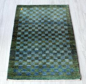 ギャッベ/ギャベ・カシュカイ族の手織りラグ・カシュクーリ・アクセントラグサイズ116x80cm グリーンブルー・タイル模様