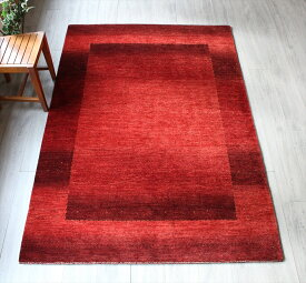 ギャッベ ギャベ カシュカイ族の手織りラグ最上級の織り・ロリアタシュ・センターラグサイズ216x148cm レッド グラデーション スクエアデザイン