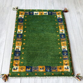 ラグ・ギャッベ(ギャベ)カシュカイ族の手織りラグ・玄関マットサイズ90x60cm グリーン・カラフルタイルボーダー・動物と植物モチーフ