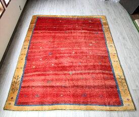 ギャッベ・ザフラ 遊牧民の手織りラグギャベ・大型ルームサイズ270x223cm レッド・散りばめられた動物と足跡