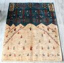 ギャベ ギャッベ・ルリバフ・カシュカイ族の手織りラグ・細かな織りの風景画・センターラグサイズ142x103cm ランドスケープ・ザクロス…