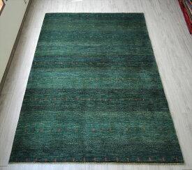 イラン直輸入・ギャッベ カシュクーリバナフシェ/大型リビングサイズ手織りラグ282x206cm 青みのあるグリーン 小さな生命の樹