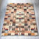 ギャッベ・ザフラ カシュカイ族の手織りラグセンターラグ177x117cm カラフルなタイル モチーフや幾何学模様