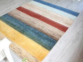 ギャッベイラン直輸入・天然ウール使用の本格派ラグ・カシュカイ族の手織りラグ・リビングサイズ196x160cm6色のカラフルなボーダー