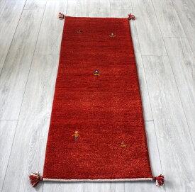 ギャッベ スタンダードな織り・イラン直輸入 手織り ランナーサイズ143x50cm レッド・人間と動物モチーフ