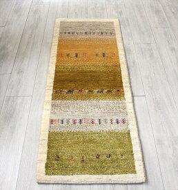 ギャッベ アマレバフ 手織り イラン直輸入 ランナーサイズ152x56cm 暖色系ストライプボーダー/ナチュラルアイボリー 動物と植物モチーフ