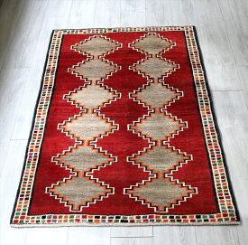 エリアラグ・オールドギャッベ・カシュカイ族の伝統柄157x99cm 12のひし形・レッド