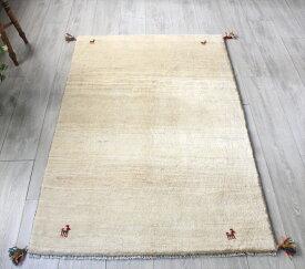 ラグ・ギャッベ(ギャベ)カシュカイ族の手織りラグ・アクセントラグサイズ149x98cm ナチュラルアイボリーグラデーション 動物モチーフ