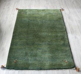 ラグ・ギャッベ(ギャベ)カシュカイ族の手織りラグ153x104cm グリーン・動物のモチーフ