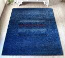 ギャッベ ギャベ カシュカイ族の手織りラグ・リビングサイズ214x180cm ブルー