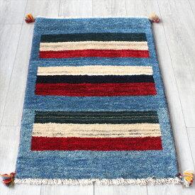 ラグ・ギャッベ(ギャベ)カシュカイ族の手織りラグ・玄関マットサイズ89x60cm ブルー・カラフルストライプ