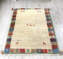 ギャッベ(ギャベ)カシュカイ族の手織りラグ・Gabbeh・アクセントラグサイズ145x103cm ナチュラルカラー&カラフルタイルのボーダー・…