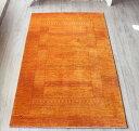 ギャッベ 最上級の織り ロリアタシュ・センターラグサイズ188x112cm オレンジ・スクエアデザイン 幾何学モチーフ