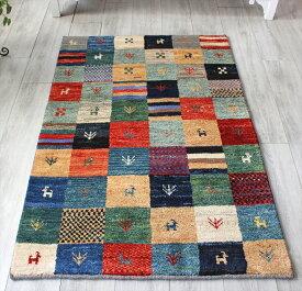 ギャッベ・イラン直輸入 手織り ノマド 玄関 アクセントラグサイズ148x98cm カラフルタイル・パターンパネルと動物と植物のモチーフ