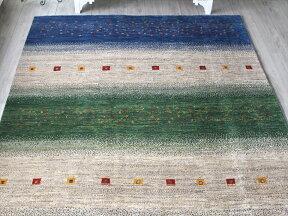 ギャッベイラン直輸入ノマド大型ルームサイズ296x209cmブルー&グリーン&アイボリーのボーダー