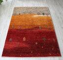 ギャッベ 細かな織り ノウバフ/センターラグサイズ172x121cm ナチュラルブラウングレー&オレンジ&レッド 自然風景