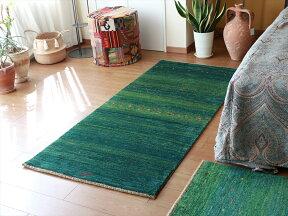 ギャッベバナフシェ/Banafsheh玄関アクセントラグサイズ192x83cmグリーン・グラデーション小花モチーフ