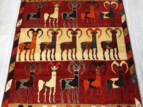 オールドギャッベ・センターラグサイズ207x120cmカラフルボーダーたくさんの山羊