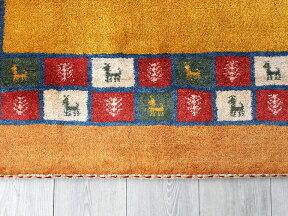 ギャッベ・ノマド/スタンダードな織りセンターラグサイズ194x150cmイエロー&オレンジカラフルタイルボーダー動物と植物モチーフ