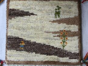 ギャッベ座布団サイズ38x39cm厚手のふかふかな織り/ナチュラルベージュ&ブラウン動物と植物モチーフ