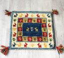 ギャッベ Gabbeh イラン南部の遊牧民・カシュカイ族の手織りラグ40x41cm 座布団サイズ ブルー/ナチュラルアイボリー