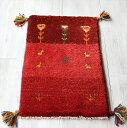 ギャベ マット イラン手織りラグ 玄関59x38cm ミニサイズ 3色のレッド ストライプボーダー 動物と植物モチーフ