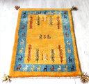 ギャッベ ふかふかの織り 玄関マットサイズ94x62cm イラン・カシュカイ族/イエロー・ブルー