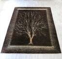 ギャッベ ノウバフト リビングサイズ246×180cm ダークブラウン 幻想的な生命の樹 Gabbeh Nowbaft (gh33700)