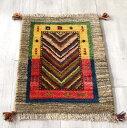 ギャッベ イラン手織りラグ ミニサイズ62x45cm カラフルなV字/ナチュラルブラウン