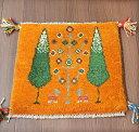 ギャッベ オレンジ39×40cm座布団サイズ 糸杉の樹と実のなる樹