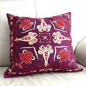 ウズベキスタンスザンニ/suzani/華やかなシルク手刺繍のクッションカバー50cmサイズ50×48cm