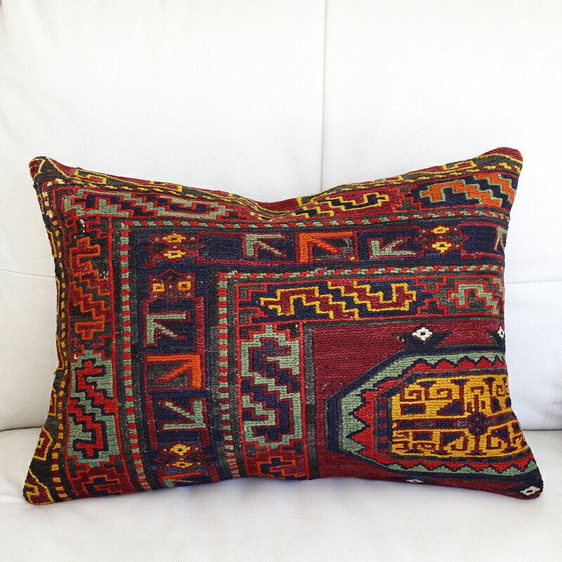 オールドキリム(スマック織り)クッションカバ-54x39cmコ-カサス/ヴィンテ-ジの手織りキリム