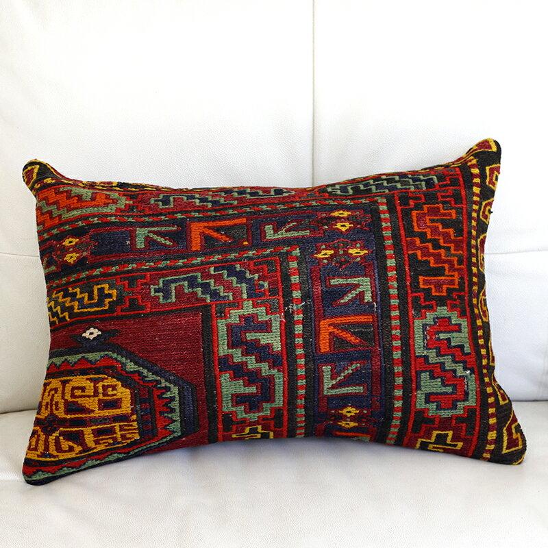 オールドキリム(スマック織り)クッションカバ-54x36cmコ-カサス/ヴィンテ-ジの手織りキリム