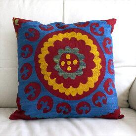 ウズベキスタンオ-ルドスザンニ/suzani/華やかなシルク手刺繍のクッションカバ-44x43cmブル-&イエロ-の大輪の花