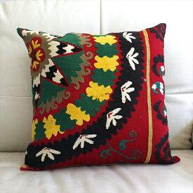 ウズベキスタンオ-ルドスザンニ/suzani/華やかなシルク手刺繍のクッションカバ-44x44cm扇型の花/イエロ-・グリ-ン&ブラック&ホワイト