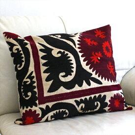 ウズベキスタンオ-ルドスザンニ/suzani/華やかなシルク手刺繍のクッションカバ-50x58cm赤と黒の太陽