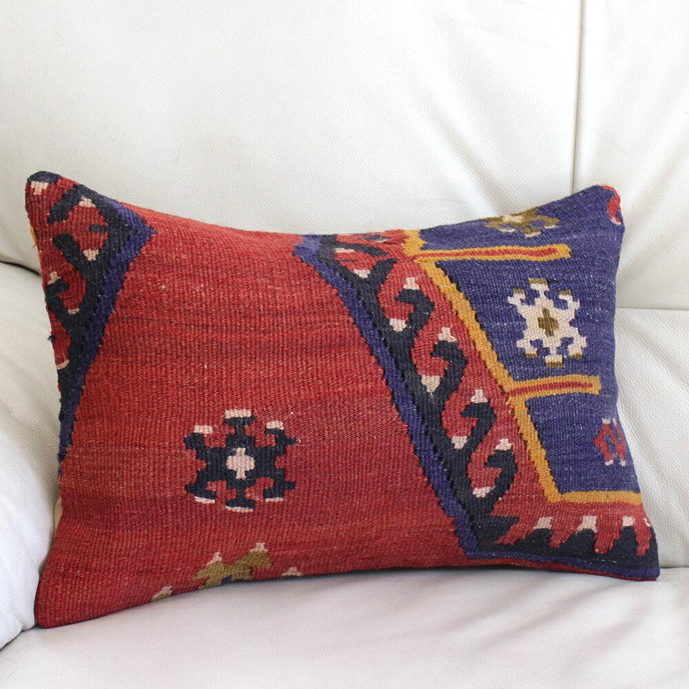 オールドキリムクッション【中綿付】長方形・枕型・ミニサイズ44×29cmシワス・シャルキュスラ