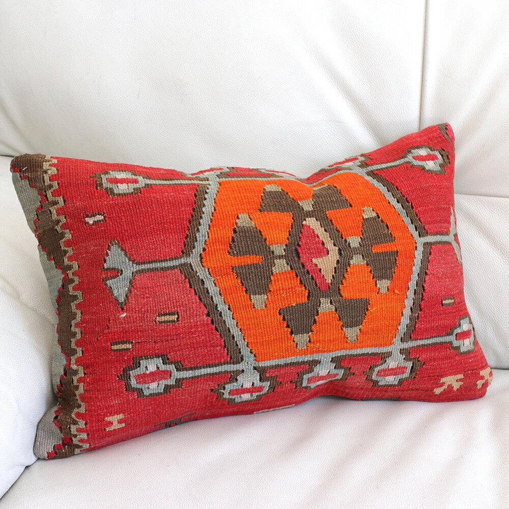 オールドキリムクッション【中綿付】長方形・枕型・ミニサイズ45×29cmシワス・シャルキュスラ/オレンジのベレケット