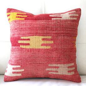 キリムクッションカバー40cm角・トルコ手織りキリム/ヴィンテージ・オールドKilim Cushionチャル/レッド&イエロー/櫛のモチーフ
