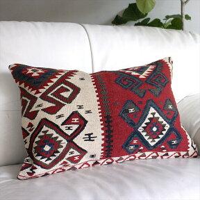 オールドキリムクッションカバー・長方形・枕型・ビッグピローOldTurkishKilimCushionトルコのウール手織りキリムワン/ボルドー&ホワイト・ブルー&グリーン