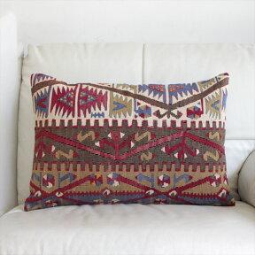 オールドキリムクッションカバー・長方形・枕型・ビッグピローOldTurkishKilimCushionトルコのウール手織りキリム流れる水のモチーフ・3重のボーダー