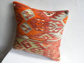 オールドキリムクッションカバー40cmTurkishKilimCushionトルコのウール手織りキリムコンヤ