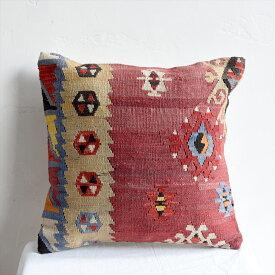 オールドキリムクッションカバー 40cm・Old Turkish Kilim Cushion トルコのウール手織りキリム シワス・シャルキュスラ